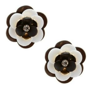Kate Spade black white Rosy Posies stud earrings